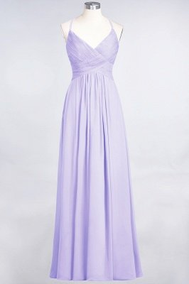 Sexy A-line Flowy Spaghetti-Straps Alluring V-neck Sleeveless Floor-Length Bridesmaid Dress UK UK with Ruffles_20