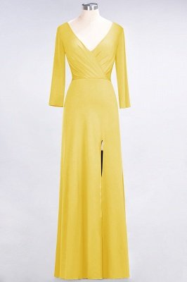 Sexy A-line Spandex Alluring V-neck Long-Sleeves Side-Slit Floor-Length Bridesmaid Dress UK UK with Ruffles_15
