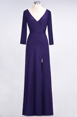 Sexy A-line Spandex Alluring V-neck Long-Sleeves Side-Slit Floor-Length Bridesmaid Dress UK UK with Ruffles_17