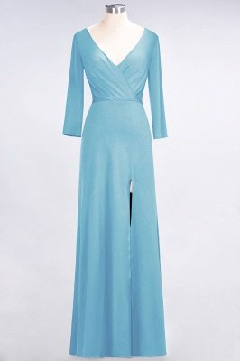 Sexy A-line Spandex Alluring V-neck Long-Sleeves Side-Slit Floor-Length Bridesmaid Dress UK UK with Ruffles_21