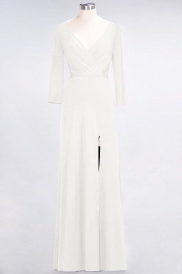 Sexy A-line Spandex Alluring V-neck Long-Sleeves Side-Slit Floor-Length Bridesmaid Dress UK UK with Ruffles_2