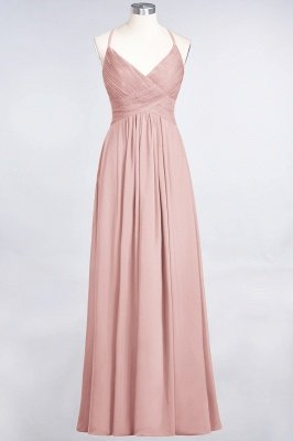 Sexy A-line Flowy Spaghetti-Straps Alluring V-neck Sleeveless Floor-Length Bridesmaid Dress UK UK with Ruffles_6