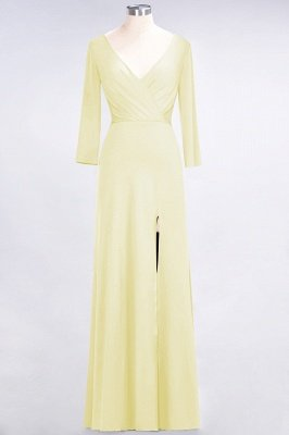 Sexy A-line Spandex Alluring V-neck Long-Sleeves Side-Slit Floor-Length Bridesmaid Dress UK UK with Ruffles_16