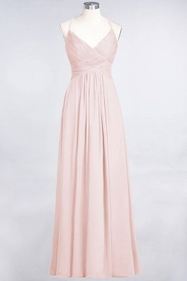 Sexy A-line Flowy Spaghetti-Straps Alluring V-neck Sleeveless Floor-Length Bridesmaid Dress UK UK with Ruffles_5