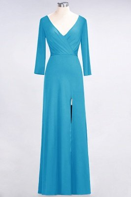 Sexy A-line Spandex Alluring V-neck Long-Sleeves Side-Slit Floor-Length Bridesmaid Dress UK UK with Ruffles_22