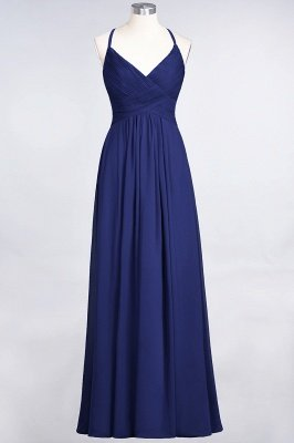Sexy A-line Flowy Spaghetti-Straps Alluring V-neck Sleeveless Floor-Length Bridesmaid Dress UK UK with Ruffles_25