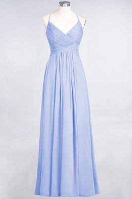 Sexy A-line Flowy Spaghetti-Straps Alluring V-neck Sleeveless Floor-Length Bridesmaid Dress UK UK with Ruffles_21