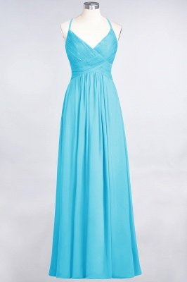 Sexy A-line Flowy Spaghetti-Straps Alluring V-neck Sleeveless Floor-Length Bridesmaid Dress UK UK with Ruffles_23