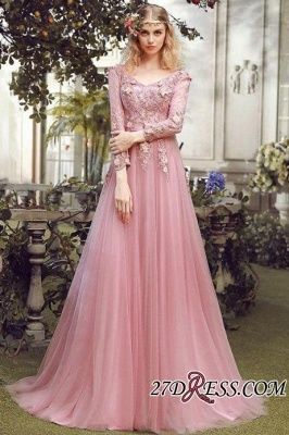Long Sleeve Pink Evening Tulle   Prom Dress UK With Lace Appliques_1
