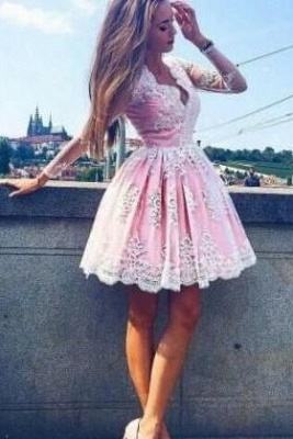 Long-Sleeves Lace Pink Short Deep-V-Neck Homecoming Dress UKes UK_2
