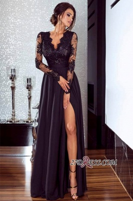 Lace Long Prom Dress UK | Long Sleeve Evening Gowns With Split_1