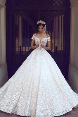 Chic Off-the-shoulder Short Sleeve Wedding Dress Lace On Sale_1