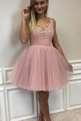 Cute Lace-Appliques Short Tulle Pink A-line Homecoming Dress UKes UK_2