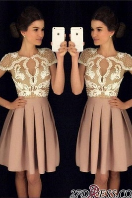 Newest Short-Sleeves Short Appliques A-Line Beadings Homecoming Dress UKes UK_2