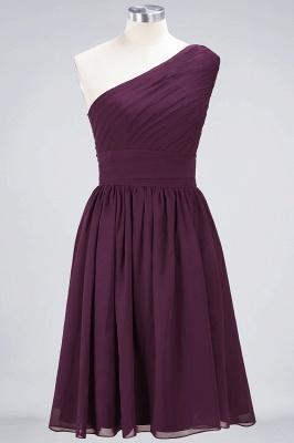 Sexy A-line Flowy One-Shoulder Sleeveless Short length Bridesmaid Dress UK UK with Ruffles_1