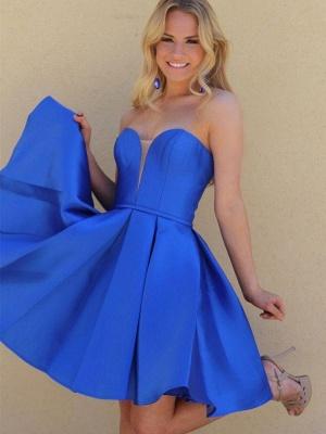 V-Neck Strapless Satin A-Line Short Homecoming Dress_4