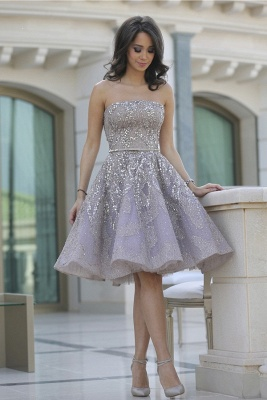 Luxury Strapless Sequins Appliques Short Homecoming Dress UK MH_1
