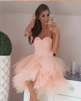 Tulle Beading Sweetheart Strapless Mini Homecoming Dress_2
