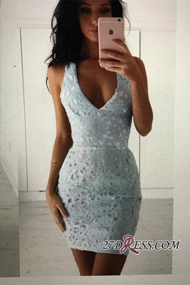 Straps Bodycon Modest Sleeveless Lace Short Homecoming Dress UK_1