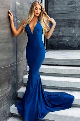 Sexy Royal-Blue Prom Dress UK | Backless Mermaid Evening Gowns_2