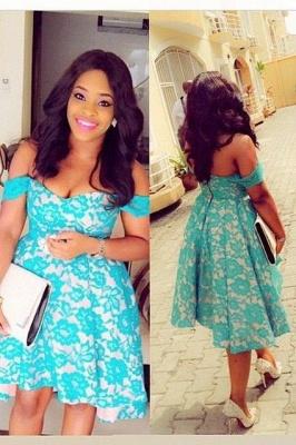 Off the shoulder lace short prom Dress UK on sale_1