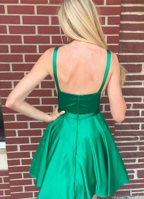 Sleeveless Stretch Satin Green Short Party Dresses Cheap Online_2