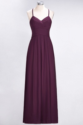 Sexy A-line Flowy Halter Alluring V-neck Sleeveless Floor-Length Bridesmaid Dress UK UK with Ruffles_1
