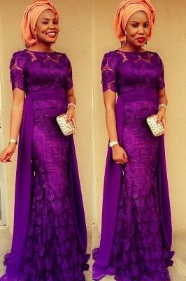 Luxury Purple Short Sleeve Evening Dress UK Floor Length_1