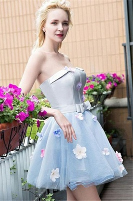 Flowers Strapless Cute Baby Blue Cheap Short Party Dresses Online_1