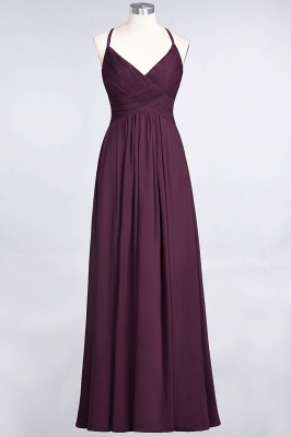 Sexy A-line Flowy Spaghetti-Straps Alluring V-neck Sleeveless Floor-Length Bridesmaid Dress UK UK with Ruffles_19