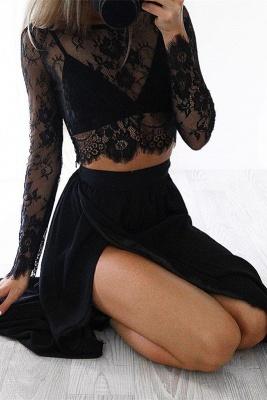 Elegant Black Long Sleeve Prom Dress UK Two Pieces Lace Front Split BA4951_2