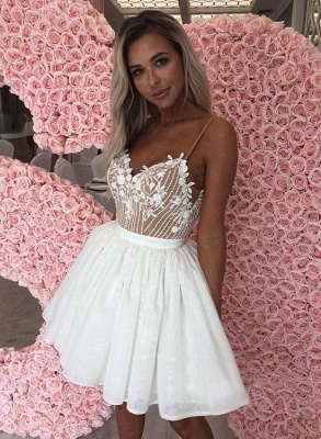 Sexy White Chiffon Spaghetti-Straps Appliques Mini Homecoming Dress_3