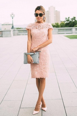 Modest Lace Mini Short Homecoming Dress UK Sleeve Knee-length_1