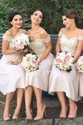 Short Lace Gorgeous Off-the-Shoulder Bridesmaids Dress UK_1