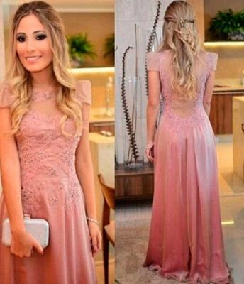 Short-sleeves Floor-length Appliques Sheath-Column Evening Dress UK_2