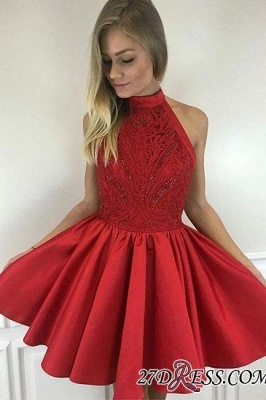Cute A-line Short Red Beading High-neck Cocktail Dress UK_1