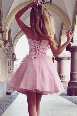 Pink Sweetheart Strapless A-Line Short Homecoming Dress_2