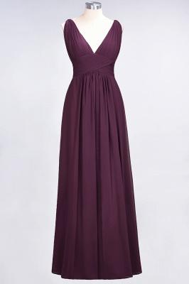 A-Line Chiffon V-Neck Sleeveless Long Bridesmaid Dress UK with Ruffle_1
