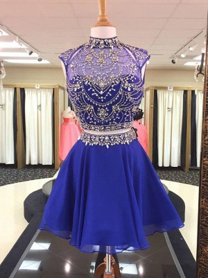 See Through Two Piece Crystals Homecoming Dresses   High Neck Beading Short Evening Dress_1