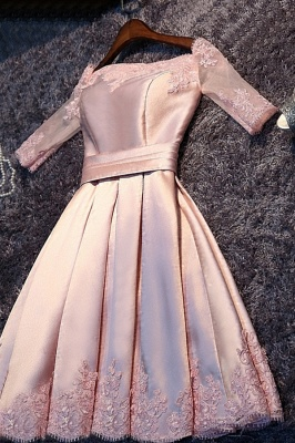 A-Line Pink Half-Sleeves Newest Short Off-the-Shoulder Homecoming Dress UK BA6866_2