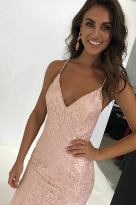 Unique Spaghetti Straps Sleeveless V-Neck Open Back Appliques Prom Dress UK UK_1