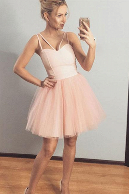Chic Spaghetti-Straps Sweetheart Short A-Line Tulle Homecoming Dress_1