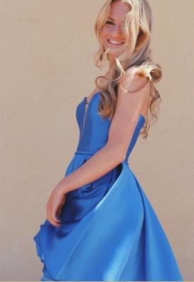 V-Neck Strapless Satin A-Line Short Homecoming Dress_3