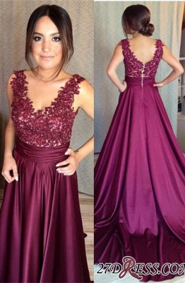 Sleeveless Appliques Zipper Luxury Lace Prom Dress UK BA7351_1