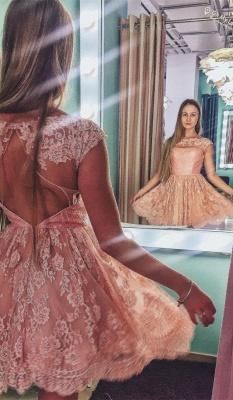 Pink Lace Jewel Sleeveless Open-Back Short Homecoming Dress_2