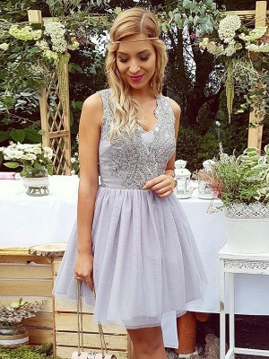 Lace Straps Short Homgcoming Dress_4