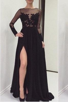 Elegant Lace Appliques Black Prom Dress UK Front Split Long Sleeve Illusion Sweep Train_1