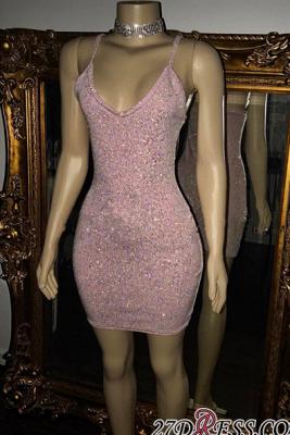 Short Sequins Pretty Spaghetti-Straps Tight Homecoming Dress UK_2