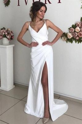 Affordable Open Back Evening Dresses UK   Spaghetti Straps Side Slit Sexy Prom Dresses_1