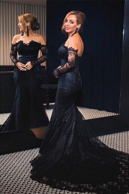 Elegant Black Mermaid Lace Evening Dress UK Long Sleeve Mermaid Party Dress UK Button Zipper Back BA7626_2